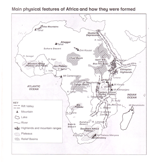Physical Map Of Africa Rivers.Elimu Physical Environment
