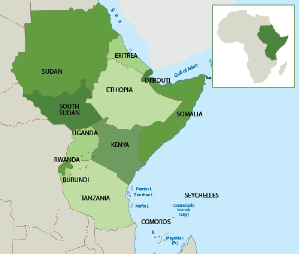 ELimu East Africa The Physical Environment - Map of eastern africa